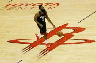 HOUSTON, TX - MAY 16: James Harden #13 of the Houston Rockets controls the ball against the Golden State Warriors in the second half of Game Two of the Western Conference Finals of the 2018 NBA Playoffs at Toyota Center on May 16, 2018 in Houston, Texas.   Tim Warner/Getty Images/AFP