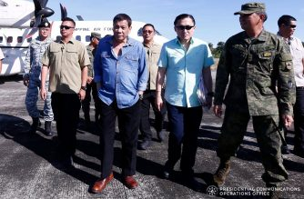 President Rodrigo Roa Duterte at the Philippine Rise Commemoration 2018   President Rodrigo Roa Duterte is accompanied by Sec. Bong Go of the Office of the Special Assistant to the President and 7th Infantry Division Commander Major General Felimon Santos Jr. upon the President's arrival at the Casiguran Airport in Aurora before they head to Casiguran Sound on board BRP Davao del Sur for the Philippine Rise Commemoration on May 15, 2018. ALFRED FRIAS/PRESIDENTIAL PHOTO
