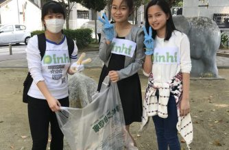 Young Iglesia Ni Cristo members in Japan participate in a clean-up drive as part of a worldwide youth church activity under the Binhi organization last April. BInhi is an organization for INC members aged 12 to 17.  (EBC Japan Bureau)