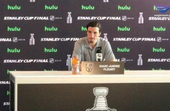 Marc-Andre Fluery, Vegas Golden Knights goalie answers questions during media day. Photo by Aleck Cui, EBC Las Vegas Bureau.