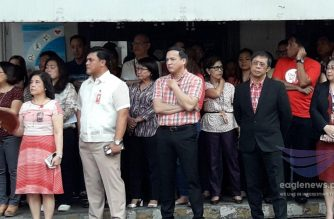 "Court Administrator of the Supreme Court Midas Marquez and other judges and court employees attend the SC flag ceremony on Monday, May 21, 2018, that expressed solidarity for the ""one SC.""  (Photo by Moira Encina, Eagle News Service)"