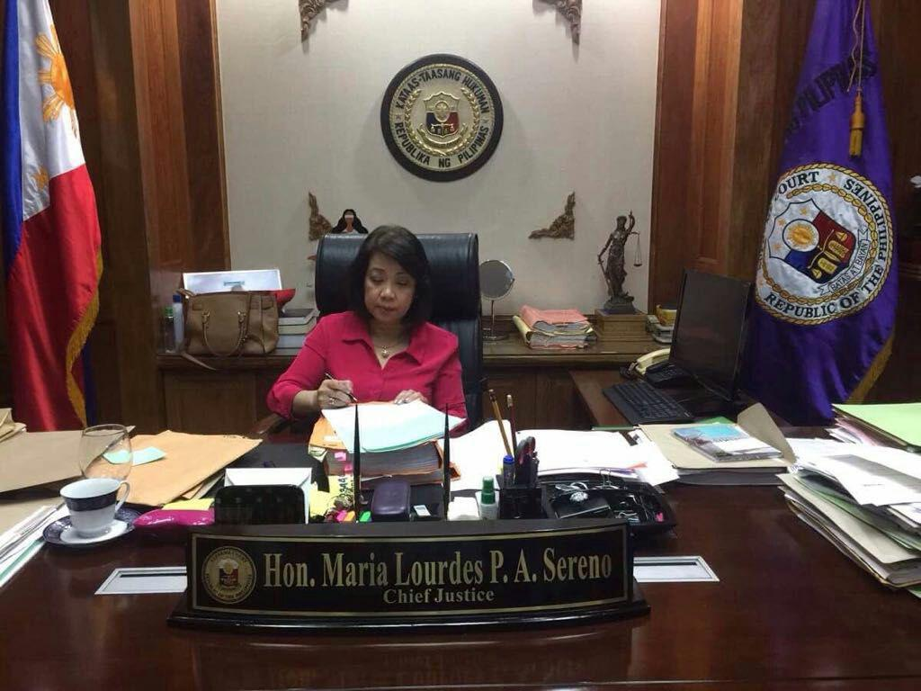 Sereno back in office as Chief Justice, but will inhibit from quo warranto proceedings