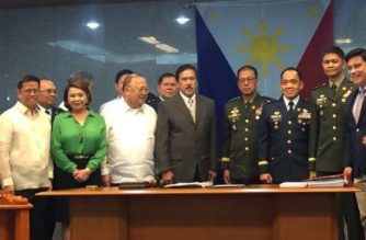 Several of the newly-confirmed officials pose with Senate President Tito Sotto on Wednesday, May 30./Meanne Corvera/Eagle News Service/