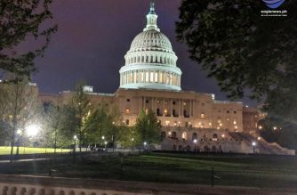US Capitol Building in Washington DC lights up night time landscape. Photo by Ivan Diaz, Eagle News Service.