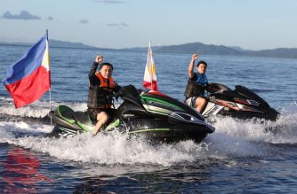 Sec. Bong Go of the Office of the Special Assistant to the President and President Rodrigo Duterte's son Sebastian jet ski as they take a tour around the Casiguran Sound during the Philippine Rise commemoration on May 15, 2018. ROBINSON NIÑAL JR./PRESIDENTIAL PHOTO