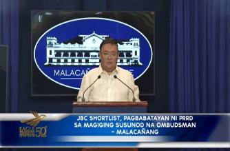 JBC shortlist, pagbabatayan ni Pangulong Duterte sa magiging susunod na Ombudsman – Malacañang