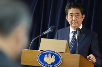"Japanese Prime Minister Shinzo Abe addresses a press conference at the conclusion of the G7 Summit in La Malbaie, Canada on June 9, 2018.  The leaders of the G7 failed to heal a tariff dispute that has pushed them to the brink of trade war, as Donald Trump quit their summit early and warned Canada, Japan and Europe that ""the gig is up."" / AFP PHOTO / GEOFF ROBINS"