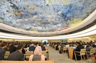 A picture taken on June 18, 2018 in Geneva shows a general view during the opening of the 38th session of the United Nations Human Rights Council. / AFP PHOTO / ALAIN GROSCLAUDE
