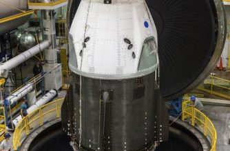 This NASA photo released June 25, 2018 shows SpaceX's Crew Dragon at NASA's Plum Brook Station in Ohio, undergoing testing in the In-Space Propulsion Facility -- the world's only facility capable of testing full-scale upper-stage launch vehicles and rocket engines under simulated high-altitude conditions.  / AFP PHOTO / NASA / Handout