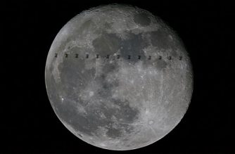 "This handout picture composed of 13 superimposed images released by the European Space Agency on January 20, 2017 shows the International Space Station flying in front of the Moon as seen from ESA's space science centre near Madrid on 14 January.   / AFP PHOTO / EUROPEAN SPACE AGENCY / Handout / RESTRICTED TO EDITORIAL USE - MANDATORY CREDIT ""AFP PHOTO / EUROPEAN SPACE AGENCY"" - NO MARKETING NO ADVERTISING CAMPAIGNS - DISTRIBUTED AS A SERVICE TO CLIENTS"