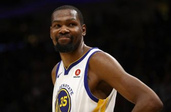 CLEVELAND, OH - JUNE 06: Kevin Durant #35 of the Golden State Warriors reacts against the Cleveland Cavaliers in the second half during Game Three of the 2018 NBA Finals at Quicken Loans Arena on June 6, 2018 in Cleveland, Ohio. NOTE TO USER: User expressly acknowledges and agrees that, by downloading and or using this photograph, User is consenting to the terms and conditions of the Getty Images License Agreement.   Gregory Shamus/Getty Images/AFP