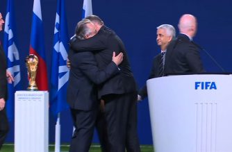 The United States, Mexico and Canada won their bid to host the 2026 World Cup on Wednesday after easily beating Morocco in a vote by FIFA member nations, held at the 68th FIFA Congress in Moscow. (Photo grabbed from Agence France Presse video)