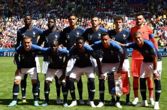 (BACK L-R) France's midfielder Paul Pogba, France's defender Samuel Umtiti, France's defender Raphael Varane, France's defender Lucas Hernandez, France's defender Benjamin Pavard, France's goalkeeper Hugo Lloris, (FRONT L-R) France's forward Antoine Griezmann, France's midfielder N'Golo Kante, France's forward Ousmane Dembele, France's midfielder Corentin Tolisso and France's forward Kylian Mbappe pose before the Russia 2018 World Cup Group C football match between France and Australia at the Kazan Arena in Kazan on June 16, 2018. / AFP Photo / Franck Fife
