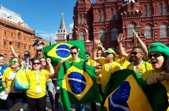 Brazil fans were all-support for their team prior to the Brazil vs Costa Rica match./Emy Coloma/Eagle News Service/
