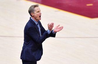Head coach Steve Kerr of the Golden State Warriors reacts during Game Three of the 2018 NBA Finals against the Cleveland Cavaliers at Quicken Loans Arena on June 6, 2018 in Cleveland, Ohio.  Jamie Sabau/Getty Images/AFP