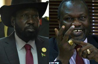 (COMBO) This combination of pictures created on June 19, 2018 shows (L)South Sudan's President Salva Kiir arriving to attend the Ordinary Session of the Assembly of Heads of State and Government of the African Union (AU) during the 30th annual AU summit in Addis Ababa on January 29, 2018 and (R) South Sudan's rebel leader Riek Machar gestures as he holds a press conference in Kampala on January 26, 2016. / AFP Photo/ Simon Maina and Isaac Kasamani