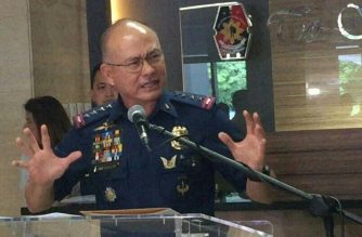 An angry Philippine National Police chief Oscar Albayalde defends the police's intensified campaign against loiterers in a press conference on Wednesday, June 20./Mar Gabriel/Eagle News Service/