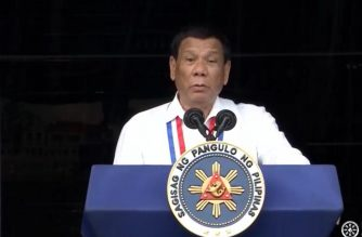 President Rodrigo Duterte vows to work for peace during his speech commemorating the 120th Philippine independence day in a program held at Kawit, Cavite on Tuesday, June 12, 2018.  (Photo grabbed from RTVM video)