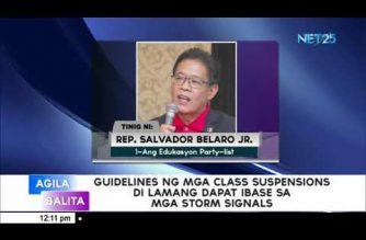 Guidelines ng mga class suspension di lamang dapat ibase sa mga storm signal