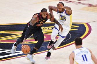 LeBron James #23 of the Cleveland Cavaliers drives against Kevin Durant #35 of the Golden State Warriors during Game Three of the 2018 NBA Finals at Quicken Loans Arena on June 6, 2018 in Cleveland, Ohio.   Jamie Sabau/Getty Images/AFP