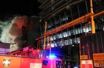 A fire hit a construction site beside SM Megamall in Ortigas on Thursday, June 28./MMDA/