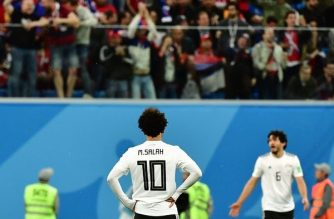 Mohamed Salah looks up at the stands during the second half of Egypt's game against Russia at the World Cup 2018. /.Giuseppe Cacace/AFP/Getty Images/
