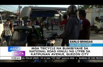 Mga tricycle na bumibiyahe sa nat'l road sa Katipunan Avenue, QC, hinuli ng LTFRB