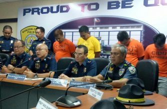 Philippine National Police officials led by PNP Chief Oscar Albayalde presented on Friday, June 8, the suspects in the kidnapping of a Chinese national on  May 25 in Quezon City. The suspects also allegedly robbed some of the victim's vehicles. /Mar Gabriel/Eagle News Service/