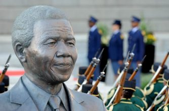 A statue depicting former South African president Nelson Mandela is seen during a ceremony ahead of South Africa's newly-minted president National address at the Parliament in Cape Town, on February 16, 2018.  The State of the Nation address is an annual mix of political pageantry and policy announcements, but the flagship event was postponed last week as Zuma battled to stay in office. / AFP PHOTO / X00388 / Nasief Manie