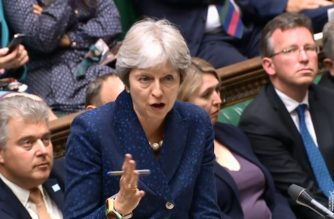 """A video grab from footage broadcast by the UK Parliament's Parliamentary Recording Unit (PRU) shows Britain's Prime Minister Theresa May  speaking in the House of Commons on Brexit in London on July 9, 2018. British Prime Minister Theresa May's government imploded on July 9 as Foreign Secretary Boris Johnson followed Brexit minister David Davis out the exit door over her masterplan for Britain's future outside the EU. / AFP PHOTO / PRU / HO / RESTRICTED TO EDITORIAL USE - NO USE FOR ENTERTAINMENT, SATIRICAL, ADVERTISING PURPOSES - MANDATORY CREDIT """" AFP PHOTO / PRU """""""