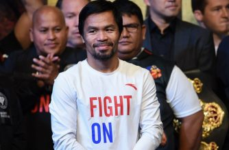Manny Pacquiao attends the weigh-in in Kuala Lumpur on July 14, 2018, ahead of his world welterweight boxing championship bout against Argentina's Lucas Matthysse on July 15. /AFP / Mohd Rasfan/