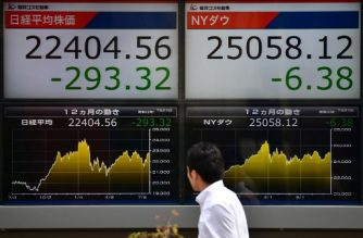 A man walks past a stock indicator showing share prices on the Tokyo Stock Exchange (L) and New York Dow Jones closing numbers (R) in Tokyo on July 23, 2018.  Tokyo stocks fell on July 23 for a third straight trading day as the yen firmed against the dollar after US President Donald Trump accused China and the European Union of manipulating their currencies. / AFP PHOTO / Kazuhiro NOGI