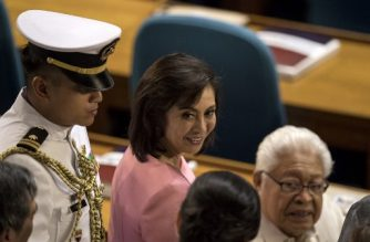 (File photo) Philippine Vice President Leni Robredo attends Philippine President Rodrigo Duterte's state of the nation address at Congress in Manila on July 23, 2018. Philippine President Rodrigo Duterte pledged on July 23 not to halt his war on drugs that has already killed thousands, as he thrashed critics who have rained condemnation on his signature initiative.  / AFP PHOTO / NOEL CELIS