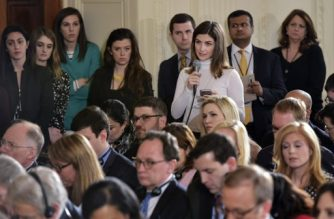 The Daily Caller White House correspondent Kaitlan Collins (3rd R) asks a question during a press conference by US President Donald Trump and Canada's Prime Minister Justin Trudeau in the East Room of the White House on February 13, 2017 in Washington, DC. / AFP PHOTO / MANDEL NGAN
