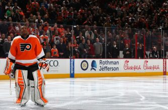 PHILADELPHIA, PA - JANUARY 27: Goalie Ray Emery #29 of the Philadelphia Flyers looks on during the national anthem before playing the Arizona Coyotes at Wells Fargo Center on January 27, 2015 in Philadelphia, Pennsylvania.   Patrick Smith/Getty Images/AFP