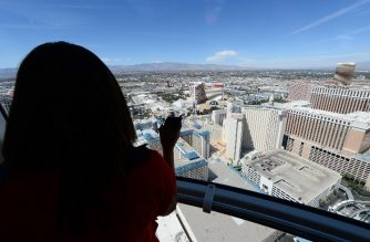 FILE PHOTO: LAS VEGAS, NV - MARCH 31: A view from a cabin on the Las Vegas High Roller at The LINQ on March 31, 2014 in Las Vegas, Nevada. The 550-foot-tall attraction, which opened to the public today, is the highest observation wheel in the world and features 28 spherical cabins that can take up to 40 people each on 30-minute rides.   Ethan Miller/Getty Images/AFP