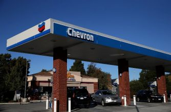 (FILES) The Chevron logo is displayed at a Chevron station on October 30, 2015 in Greenbrae, California.   Justin Sullivan/Getty Images/AFP