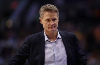 PHOENIX, AZ - APRIL 08: Head coach Steve Kerr of the Golden State Warriors watches from the sidelines during the first half of the NBA game against the Phoenix Suns at Talking Stick Resort Arena on April 8, 2018 in Phoenix, Arizona. NOTE TO USER: User expressly acknowledges and agrees that, by downloading and or using this photograph, User is consenting to the terms and conditions of the Getty Images License Agreement.   Christian Petersen/Getty Images/AFP