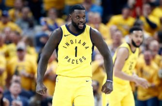 INDIANAPOLIS, IN - APRIL 27: Lance Stephenson #1 of the Indiana Pacers celebrates against the Cleveland Cavaliers in Game Six of the Eastern Conference Quarterfinals during the 2018 NBA Playoffs at Bankers Life Fieldhouse on April 27, 2018 in Indianapolis, Indiana. NOTE TO USER: User expressly acknowledges and agrees that, by downloading and or using this photograph, User is consenting to the terms and conditions of the Getty Images License Agreement.   Andy Lyons/Getty Images/AFP