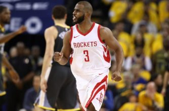 OAKLAND, CA - MAY 22: Chris Paul #3 of the Houston Rockets reacts after a basket against the Golden State Warriors during Game Four of the Western Conference Finals of the 2018 NBA Playoffs at ORACLE Arena on May 22, 2018 in Oakland, California. NOTE TO USER: User expressly acknowledges and agrees that, by downloading and or using this photograph, User is consenting to the terms and conditions of the Getty Images License Agreement.   Ezra Shaw/Getty Images/AFP