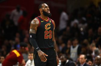 CLEVELAND, OH - JUNE 08: LeBron James #23 of the Cleveland Cavaliers looks on in the first quarter against the Golden State Warriors during Game Four of the 2018 NBA Finals at Quicken Loans Arena on June 8, 2018 in Cleveland, Ohio. NOTE TO USER: User expressly acknowledges and agrees that, by downloading and or using this photograph, User is consenting to the terms and conditions of the Getty Images License Agreement.   Gregory Shamus/Getty Images/AFP