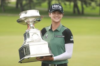KILDEER, IL - JULY 01: Sung Hyun Park of South Korea celebrates with the trophy after winning the KPMG Women's PGA Championship at Kemper Lakes Golf Club on July 1, 2018 in Kildeer, Illinois.   Scott Halleran/Getty Images for KPMG/AFP
