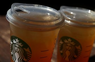 SAUSALITO, CA - JULY 09: A new flat plastic lid that does not need a straw is shown on a cup of Starbucks iced tea on July 9, 2018 in Sausalito, California. Justin Sullivan/Getty Images/AFP