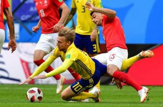 Sweden beat Switzerland, 1-0, to advance to the World Cup quarterfinals./AFP/Getty Images/