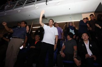 President Rodrigo Duterte was accompanied by his son Sebastian, aide Bong Go, National Security Adviser Hermogenes Esperon and the Malaysian Defense minister during the Pacquiao-Matthysse match on Sunday, July 15./Bong Go/