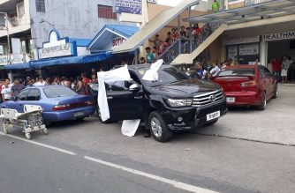 Trece Martires, Cavite Vice Mayor Alex Lubigan  was on board this vehicle when it was fired at by suspects on board another vehicle on Saturdat, July 6. Lubigan was killed and another was seriously injured./PNP Calabarzon/