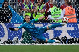 Igor Akinfeev saved Iago Aspas' kick to allow Russia to advance to the quarterfinals. /AFP/