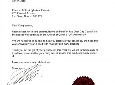 Incs 104th anniversary and 50th year in the west eagle news mayor of red deer city in alberta canada sends greetings of congratulations to inc on its 104th year m4hsunfo