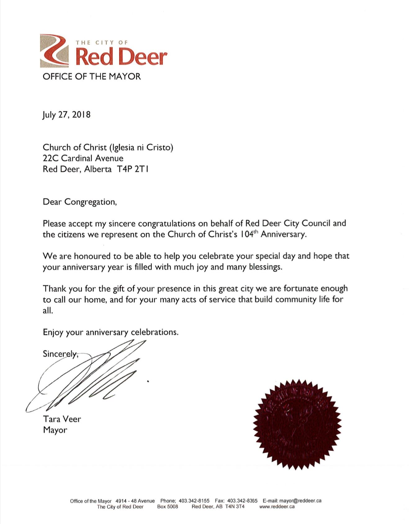 Mayor of Red Deer City in Alberta, Canada sends greetings of congratulations to INC on its 104th year