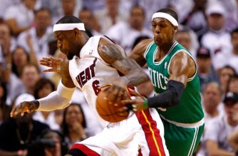 (FILES) Rajon Rondo #9 of the Boston Celtics attempts to steal the ball from LeBron James #6 of the Miami Heat in the first half of Game Five of the Eastern Conference Finals in the 2012 NBA Playoffs on June 5, 2012 at American Airlines Arena in Miami, Florida.  Mike Ehrmann/Getty Images/AFP